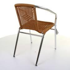 Chrome Bistro Chairs Aluminium Chrome Bistro Chair Stacking Tan Wicker
