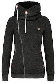 djt women u0027s high collar long sleeve hooded sweatshirt click
