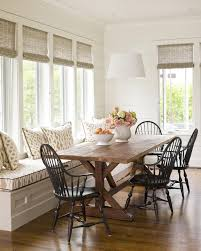 dining room built in bench large windows large farmhouse