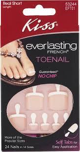 kiss everlasting french toenail real short length 24 ct