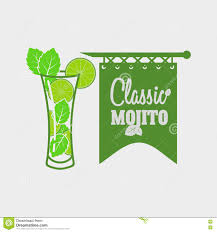 cocktail logo vector logo or label template with cocktail mojito with mint
