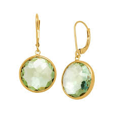 green amethyst earrings 13 ct green amethyst drop earrings in 14k gold 13 ct green