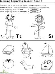 beginning sounds t and s worksheet education com