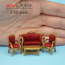 Gold Sofa Living Room by 1 48 Scale Victorian Living Room Set 4pcs Gold Sofa 2 Chairs