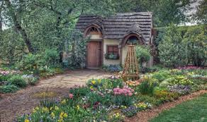 houses magical cottage frontyard flower garden architecture wide
