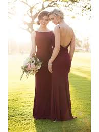 burgundy bridesmaid dresses backless bateau neckline burgundy wedding bridesmaid dresses