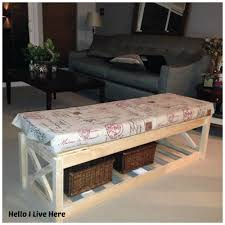 simple storage bench for living room with cushion and generous