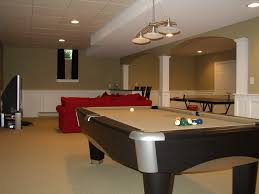 simple modern game room design with nice red sectional sofa game