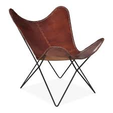 Brown Leather Accent Chair Brown Leather Xanthe Butterfly Chair Modern Accent Chairs