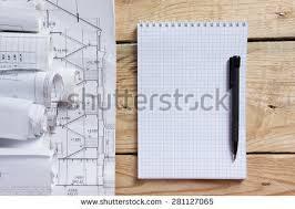 architectural blueprints blueprint rolls on white stock photo