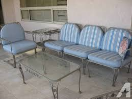 Wrought Iron Patio Chair Vintage Wrought Iron Patio Furniture Reversible Cushions Heavy 8