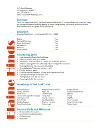 Resume Samples For Waitress by Free Resume Templates For High Students Babysitting Fast
