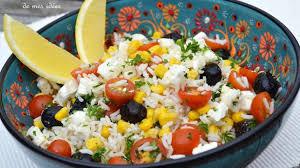 cuisine salade de riz salade de riz aux tomates cerise maïs olives et feta recette