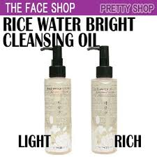 the face shop rice water bright cleansing light oil qoo10 the face shop rice water bright cleansing light rich oil