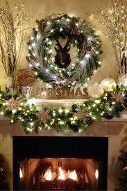 chic christmas mantel decorations with nice circle wreath leaf