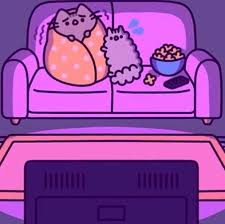 pusheen and stormy watching a scary movie pusheen pinterest