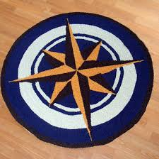 Nautical Kitchen Rugs Hooked Rug 3 Nautical Decor Compass Indoor