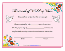 free printable renewal of wedding vows certificates templates