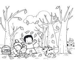 coloring pages of autumn autumn coloring pages kids and dog collecting autumn leaf coloring