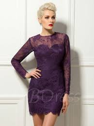 lace long sleeves short mini length sheath cocktail dress