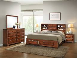 Antique King Beds With Storage by Roundhill Furniture Asger Antique Oak Finish Wood Bed Room Set