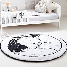 amazon com hiltow round rugs baby rug nursery rugs cute fox