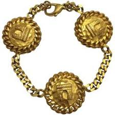 gold chain charm bracelet images Chanel vintage gold rue cambon chunky link coin charm evening jpg