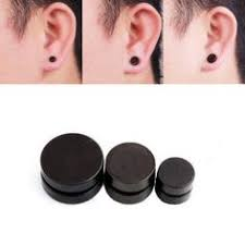 black ear studs 8mm black men s stud earrings by cool style