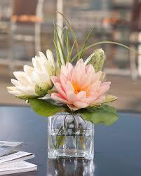 Faux Flower Arrangements Buy Lifelike Lotus Blossom U0026 Lily Pad Silk Flower Arrangement At