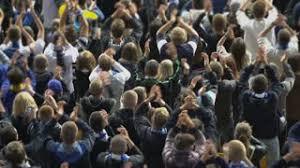 the sports fan zone street fan zone in large city center urban life fans supporting