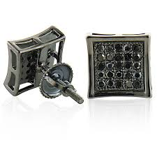mens black diamond earrings diamond earrings 0 50ct black pvd silver