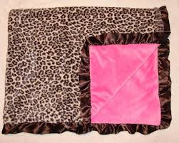 cheetah bedding for girls leopard cheetah print baby blanket pink satin ruffle trim