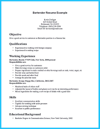 Job Resume Format Word by Bartender Resume No Experience Resume For Your Job Application