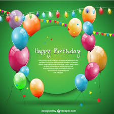 Happy Birthday Design Card Green Happy Birthday Card With Balloons And Garlands Vector Free