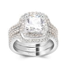 wedding cut rings images 3 pc halo 2 0 ct cushion cut lab created diamond bridal set jpg