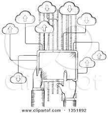 clipart of a sketched hand using a tablet computer royalty free