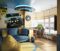 Living Room Interior Designs Blue Yellow Blue Yellow Car Themed Boys Room Interior Design Ideas