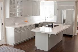 kitchen with white and gray cabinets ellajanegoeppinger