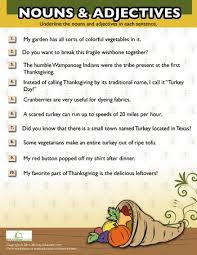 thanksgiving nouns and adjectives 2 worksheets grammar