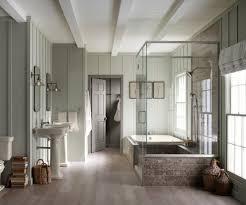 6x6 cedar post bathroom farmhouse with light brown wood floors