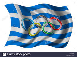 Greece Flag Colors Flag Of Greece With Olympic Symbol Stock Photo Royalty Free Image