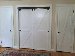 Closet Doors Barn Style Remodelaholic How To Make Bypass Closet Doors Into Sliding Faux