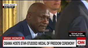 star of crying jordan meme cries while receiving presidential