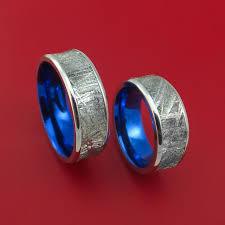 matching wedding bands cobalt chrome and meteorite matching wedding band set engagement
