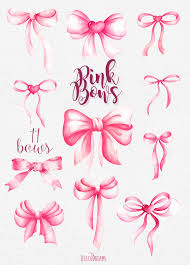 pink bows pink bows watercolor handpainted clipart silk bow