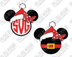 minnie mouse monogram minnie mouse santa claus monogram svg cut file set for custom