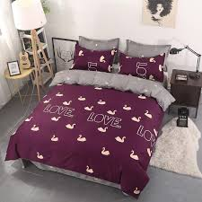 soft bed sheets red swan printed bedding set kids cute bedspread twin full queen