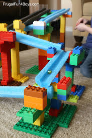 create a building stem building challenge for kids lego duplo and pool noodle marble