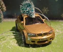 bmw m1 gold car with christmas tree ornament
