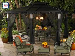 Vintage Home Decor Websites by Exterior Design Vintage Hardtop Gazebo With Brown Curtains And